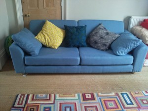 Linen sofa with memory foam seat cushions