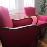 pink chairs with decorative studs